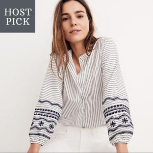Madewell Striped Embroidered Balloon Sleeve Shirt